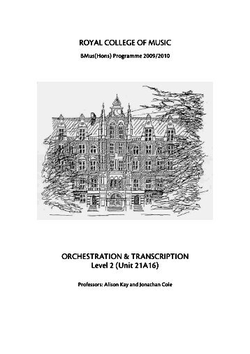 ROYAL COLLEGE OF MUSIC ORCHESTRATION - Synapse Music