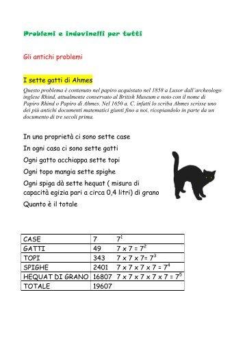 Problemi e indovinelli per tutti Gli antichi problemi I sette gatti di ...