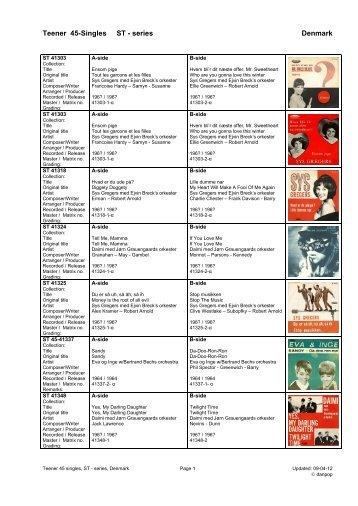 Teener label ST series 45 singles diskografi - danpop.dk