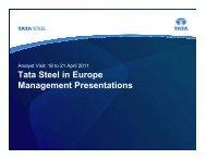 Tata Steel in Europe Management Presentations April 2011