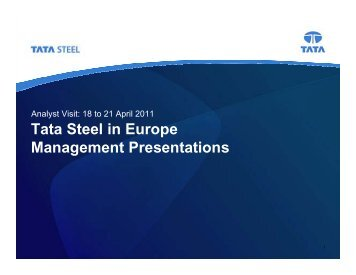 Tata Steel in Europe Management Presentations April 2011