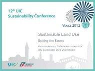 Titre de la présentation - The 12th UIC Sustainability Conference