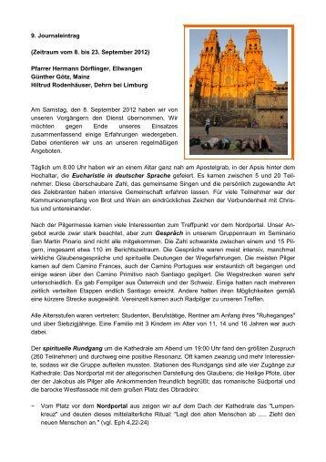 9. Journaleintrag (Zeitraum vom 8. bis 23. September 2012) Pfarrer ...