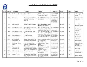 List of Allottee of Industrial Estate - BHEL - Sidcul