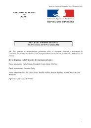 Revue de Presse du 30 octobre au 05 novembre 2012