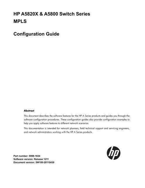 HP A5820X & A5800 Switch Series MPLS     - Hewlett Packard