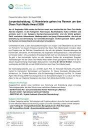 Presseinformation, 26.8._Nominierte_Clean Tech Media Award 2009