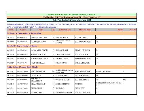 Post Basic B.Sc. (Nursing) 1st year May-June 2012 Notification 7