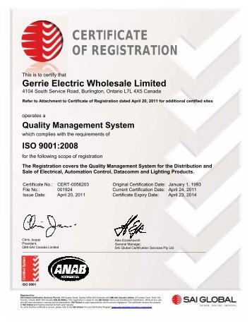 CERTIFICATE OF REGISTRATION - Gerrie Electric