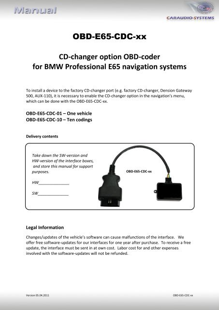OBD-E65-CDC-xx CD-changer option OBD-coder for BMW