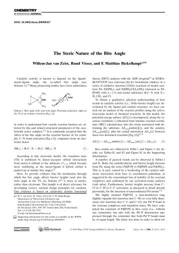 The Steric Nature of the Bite Angle