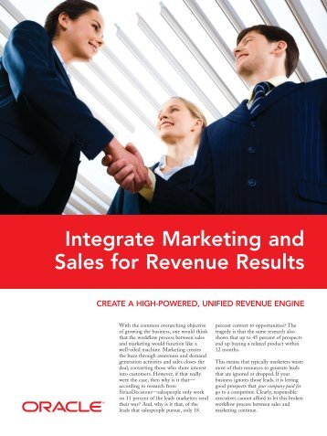 Integrate Marketing and Sales for Revenue Results - Oracle