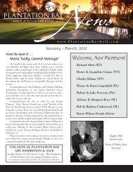 January – March, 2012 - Plantation Bay - Golf & Country Club