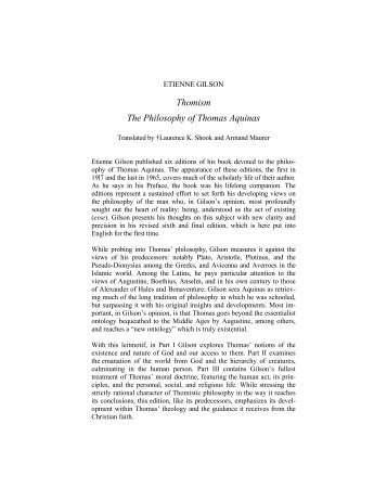 Thomism The Philosophy of Thomas Aquinas - Pontifical Institute of ...