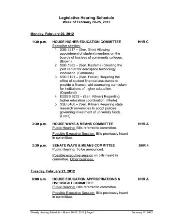 Hearing Schedule - Washington State Board for Community ...