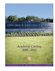 Course Catalog 2009-2010 with Addendum - Concordia University