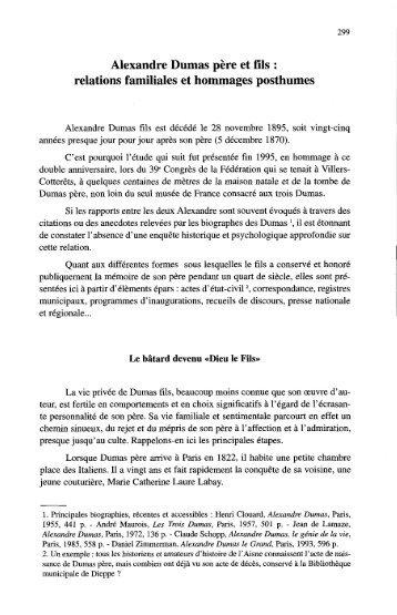 Alexandre Dumas père et fils : relations familiales et hommages ...