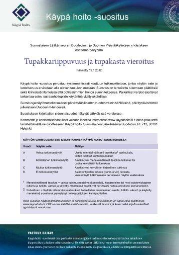 Käypä hoito -suositus Tupakkariippuvuus ja ... - Treatobacco.net