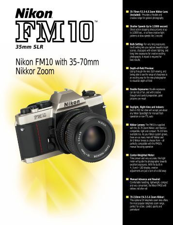 Nikon FM10 with 35-70mm Nikkor Zoom - Nikon Service-Manuals