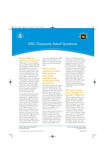 Fact Sheet (Print): OBD Frequently Asked Questions