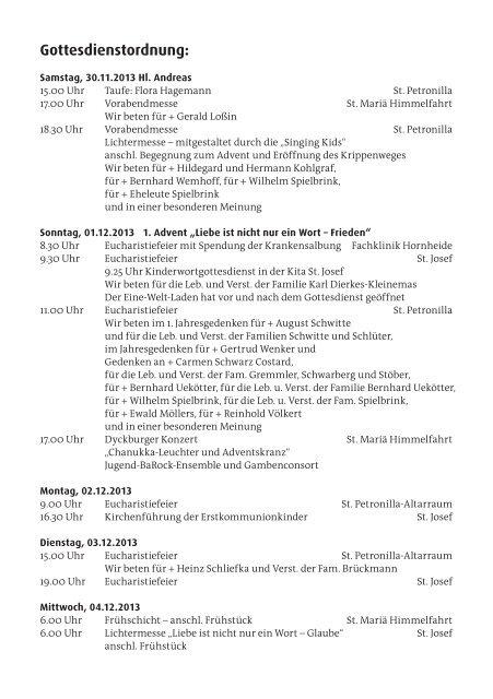 Pfarrnachrichten vom 30. November - 8. Dezember ... - St. Petronilla