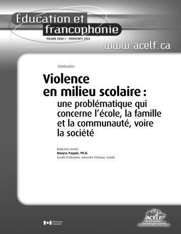 Violence en milieu scolaire : - acelf