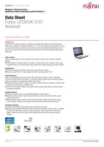 Data Sheet Fujitsu LIFEBOOK S761 Notebook - eD' system Czech, as