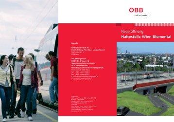 Neueröffnung Haltestelle Wien Blumental - ÖBB