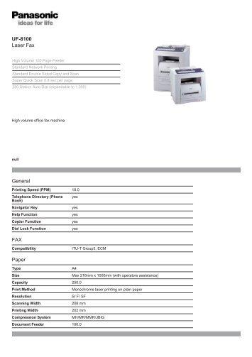 UF-8100 Laser Fax General FAX Paper - East Pennine Office ...