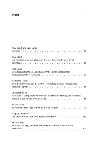 Inhalt - Gründungsmythen Europas in Literatur, Kunst und Musik
