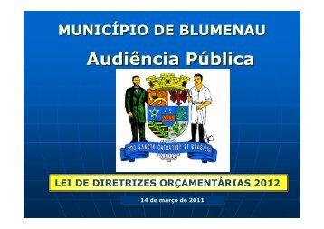 Audiência Pública - Prefeitura Municipal de Blumenau