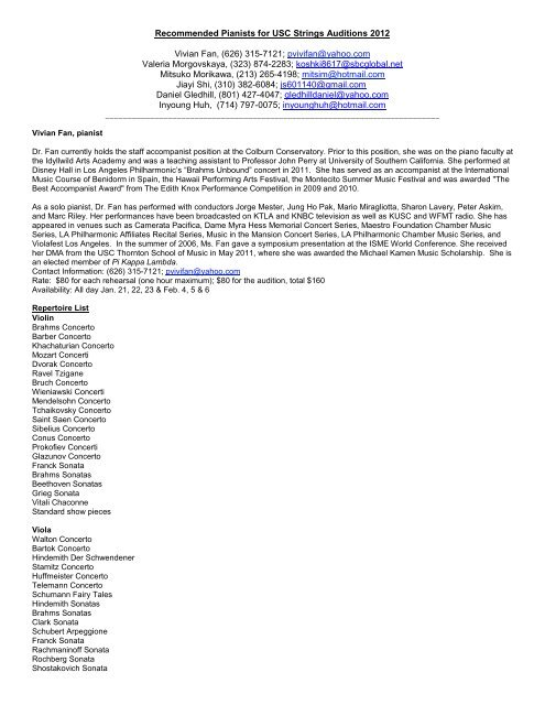 Recommended Pianists for Strings Auditions 2010 - University