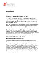 Ehrenpreis für Filmregisseur Rolf Lyssy - Schweizer Filmakademie