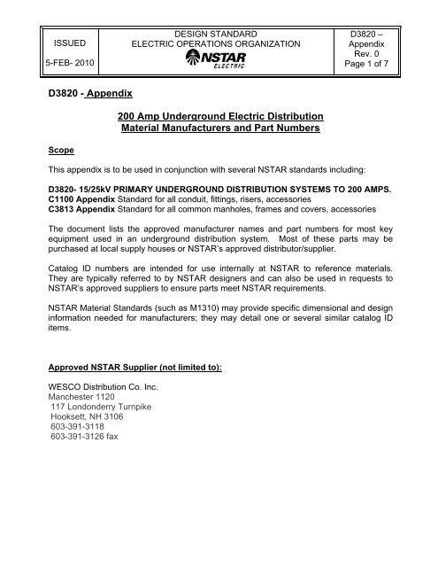 D3820 - Appendix 200 Amp Underground Electric     - NStar