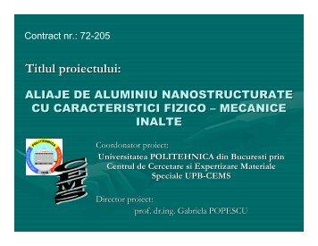 aliaje de aluminiu nanostructurate cu - Prezentare