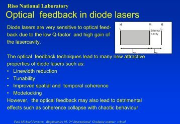 Optical feedback in diode lasers