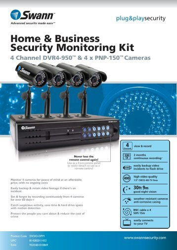 Home & Business Security Monitoring Kit 4 Channel DVR4-950 ...