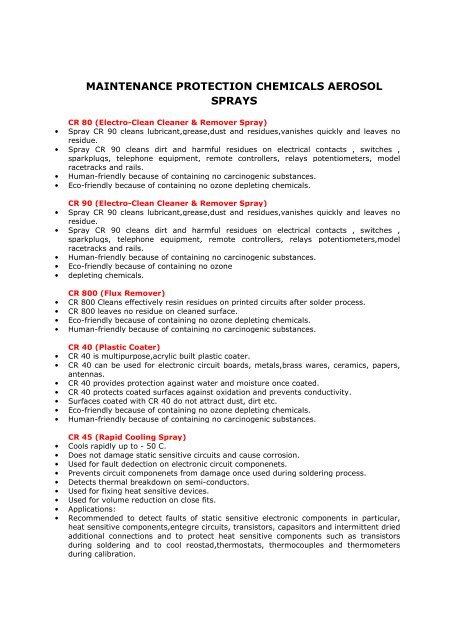 Maintenance Protection Chemicals Aerosol Sprays(PDF