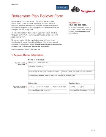 Vanguard Qualified Retirement Plan Single Distribution Request Form