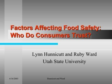 Factors Affecting Food Safety: Who Do Consumers Trust?