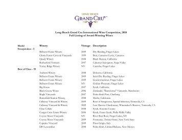 Long Beach Grand Cru International Wine Competition, 2010