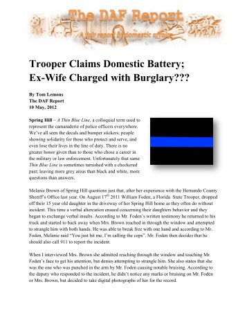 Trooper Claims Domestic Battery; Ex-Wife ... - False DVI Reports