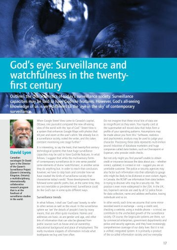 Gods eye Surveillance and watchfulness in the ... - Bible Society