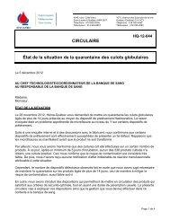 CIRCULAIRE État de la situation de la quarantaine ... - Héma-Québec