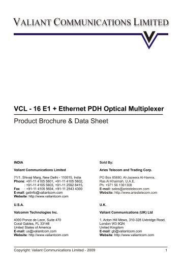 16 E1 + Ethernet - PDH Optical Multiplexer - Data ... - Aries Telecom