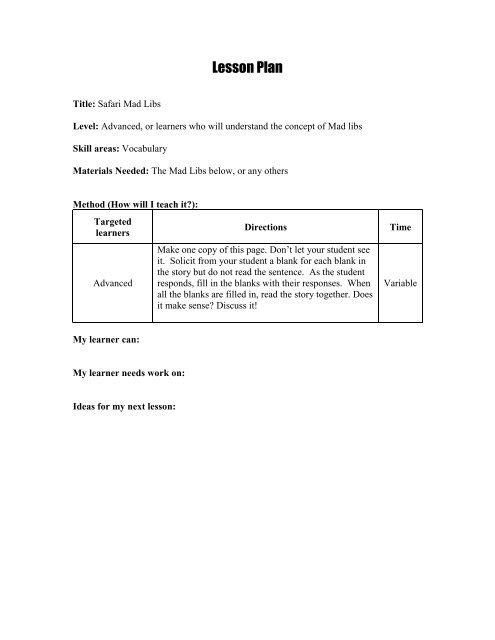 photograph regarding Mad Libs Printable Pdf named Safari Outrageous Libs Intermediate Lesson Program.pdf - Undertaking Glow