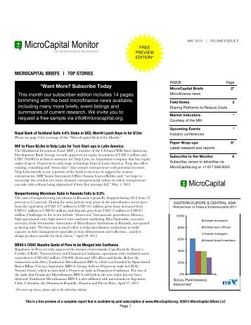 May 2013 – Volume 8 Issue 5 - MicroCapital