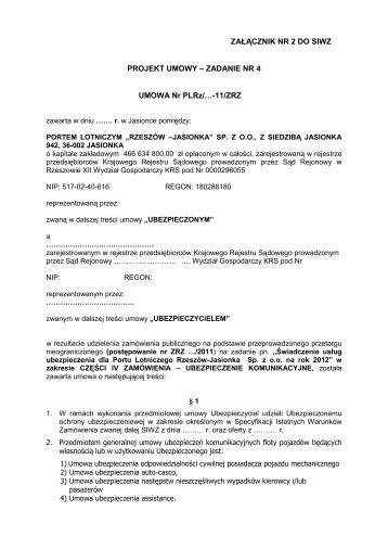 wzór umowy dla części iv zamówienia - załącznik nr 2 do siwz