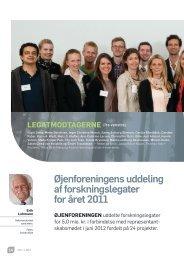 Øjenforeningens uddeling af forskningslegater for året 2011