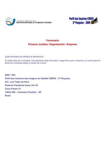 Formulario Persona Jurídica: Organización / Empresa - INPE/OBT/DGI
